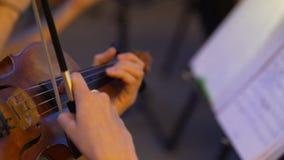 Close-uphanden die aan muzikaal instrument, filharmonisch orkest spelen stock videobeelden