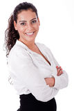 Close upl portrait of happy business woman Royalty Free Stock Images
