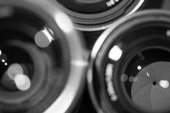 Close-upmacro van cameralenzen met bezinningen rustig beeld Stock Afbeeldingen