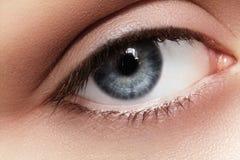 Close-upmacro van mooi vrouwelijk oog Schone huid, manier naturel samenstelling Royalty-vrije Stock Fotografie