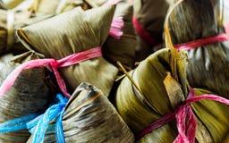 Close-upmening van Aziatische rijstbollen Zongzi met exemplaarruimte royalty-vrije stock afbeeldingen