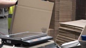 Close-upmening van de handen van een verwerkende arbeider die ingepakte producten in kartondozen zetten, vóór de uitvoer of royalty-vrije stock afbeeldingen