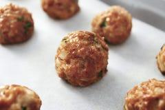 Close-upmening van de heerlijke vleesballetjes van Turkije Stock Fotografie