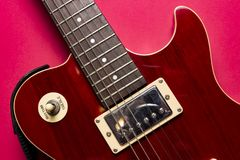 Close-upmening van de uitstekende klassieke elektrische gitaar van rots les Paul stock afbeeldingen
