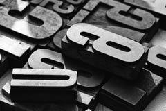 Close-upmening van gemengde lettersoorten royalty-vrije stock foto's