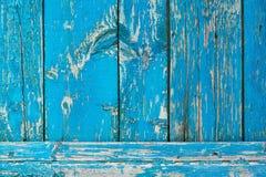 close-upmening van oude gekraste blauwe houten planken royalty-vrije stock foto's