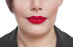 Close-upmening van plus geïsoleerde het gezicht van de groottevrouw stock foto