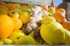 Close-upmening van verse sinaasappelen en appelenvruchten stock foto