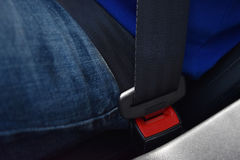 Close-upmensen die jeans en het blauwe slot van de overhemdsveiligheidsgordel, Aandrijving dragen stock foto's