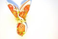 Close-uppaasei met onder ogen gezien die glimlach in vorm van konijn van document servet op witte achtergrond wordt geïsoleerd Vo stock afbeelding