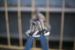Close-uppic van blauwe die bandenslinger met het sluiten van karabiners en het knippen in statische tweelingkabels wordt gemontee royalty-vrije stock afbeeldingen