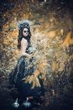 Close-upportret van Calavera Catrina in zwarte kleding De make-up van de suikerschedel Dia DE Los Muertos Dag van de Doden Hallow royalty-vrije stock foto's