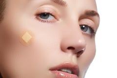 Close-upportret van de zuiverheidsgezicht van de mooie vrouw met natuurlijke samenstelling Leuk model met schone glanzende huid M Stock Afbeelding