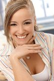 Close-upportret van gelukkig meisje Stock Foto's