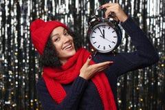 Close-upportret van gelukkige de wintervrouw Royalty-vrije Stock Afbeelding