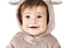 Close-upportret van grappige baby royalty-vrije stock afbeelding
