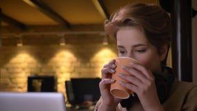 Close-upportret van jonge kortharige vrouw met hoofdtelefoons die aandachtig met binnen laptop en het drinken drank werken stock video