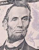 Close-upportret van Lincoln op dollarrekening stock fotografie