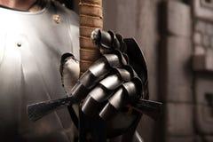 Close-upportret van middeleeuws pantser Stock Foto's