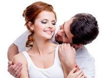 Close-upportret van mooi glimlachend paar. royalty-vrije stock foto