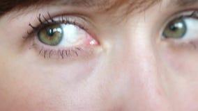 Close-upportret van mooie grijs-groene ogen van een jonge mooie vrouw de mooie close-up van galazameisjes stock footage