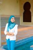 Close-upportret van mooie jonge Aziatische studentenglimlach royalty-vrije stock foto