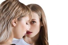 Close-upportret van mooie jonge meisjes die samen stellen Stock Afbeelding