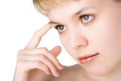 Close-ups beauty woman think. Over white background royalty free stock images