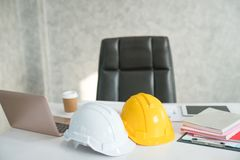 Close-ups of desk depicting different occupations professions. Architect / construction / engineer Royalty Free Stock Photo
