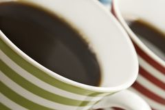 Close ups of mugs of black coffee Stock Photos