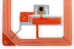 Close ups of tags. Close up pictures of a RFID tag showing the chip and antennas Stock Photo