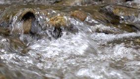 Close-ups van zuivere stroom van bergrivier onder steenachtige kusten stock videobeelden