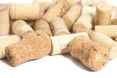 Close-ups of wine corks on white Royalty Free Stock Photo