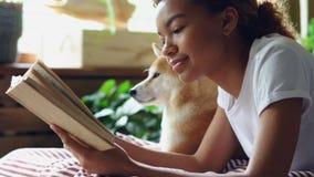 Close-upschot van gemengd van de de hondeigenaar van het rasmeisje de lezingsboek die op bed in moderne vlakte dichtbij aanbiddel stock video