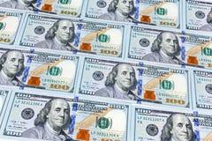 Close-upschoten van honderd dollarsbankbiljet Stock Fotografie