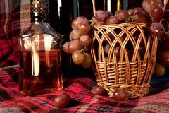 Close-upstilleven door de wijn, de cognac en de druiven in B wordt gemaakt die stock fotografie