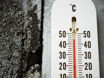Close-upthermometer die temperatuur in graden Celsius tonen Royalty-vrije Stock Afbeeldingen