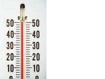Close-upthermometer die temperatuur in graden Celsius tonen Royalty-vrije Stock Fotografie