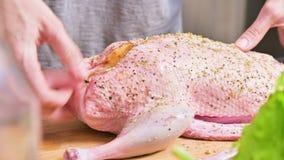 Close-upvoorbereiding van eend of gans voor baksel Bestrooi het ruwe karkas met kruiden en zout De eend van de Kerstmisschotel stock video