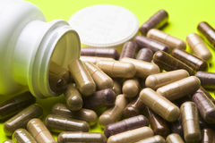 Close of various vitamin capsules Royalty Free Stock Images