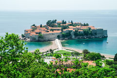 Close view of Aman Sveti Stefan, Montenegro. Close up view of the island of Aman Sveti Stefan in Montenegro Royalty Free Stock Photos