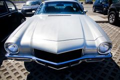Classic seventies car. Close view of an American classic seventies car parked Stock Images
