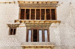 Close view of ancient windows of Leh palace Royalty Free Stock Photography