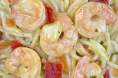 Close view of angel hair pasta with shrimp Royalty Free Stock Image