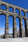 Close view of the aqueduct of Segovia Stock Image