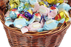 Close view of assorted chocolates in a basket Stock Photos
