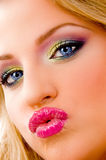 Close view of attractive model giving kiss Stock Photos