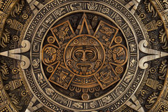 Close view of the aztec calendar Stock Photo
