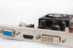 Close view of the back of the graphic card Stock Image