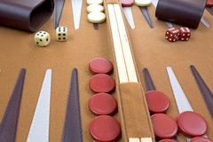 Close view of backgammon game Royalty Free Stock Images